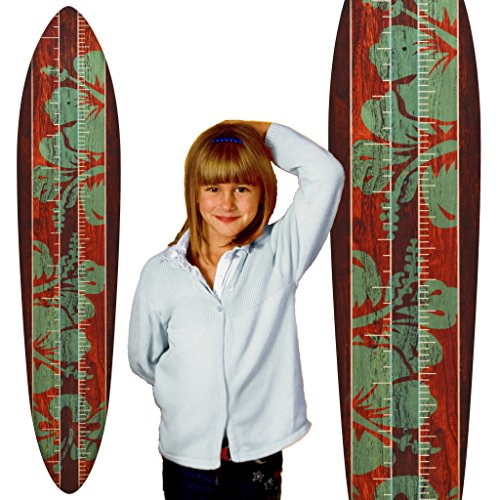 Growth Chart Art | Vintage Surfboard Wooden Growth Chart for Boys | Mahogany Teal Hibiscus | Metric Version
