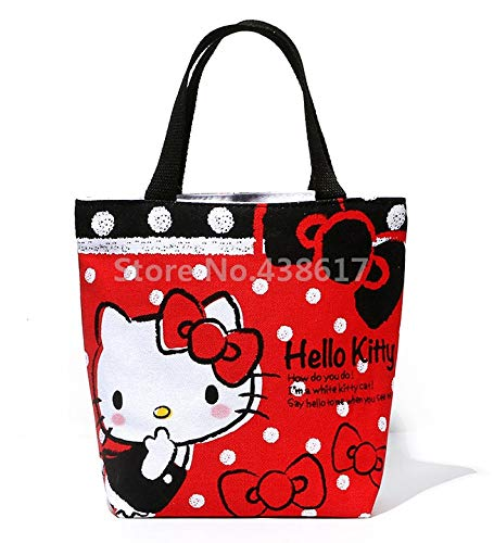 Cute Red Hello Kitty Canvas Handbag Kids Lunch Bag for Women Girls Tote Lunch Box Bags Lunchbag Lunchbox Picnic Food Bag