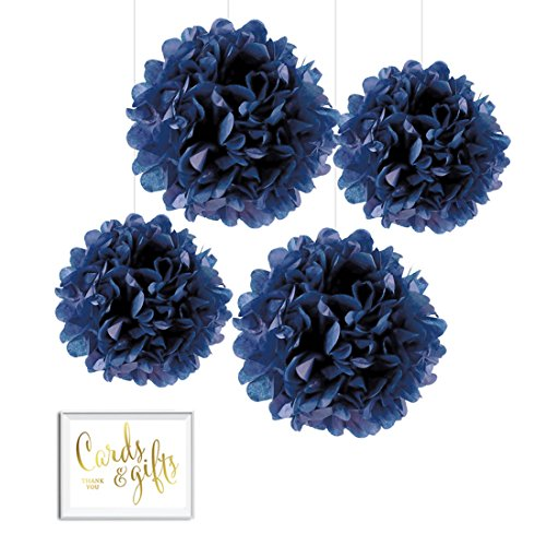 Andaz Press Tissue Paper Pom Poms Hanging Decorations with Free Gold Card & Gifts Party Sign, Navy Blue, 8-inch and 10-inch, 4-Pack, Colored Birthday Party Supplies