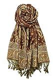 Achillea Soft Silky Reversible Paisley Pashmina Shawl Wrap Scarf w/Fringes 80'' x 28'' (Brown)