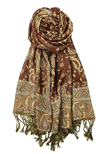 Achillea Soft Silky Reversible Paisley Pashmina Shawl Wrap Scarf w/Fringes 80'' x 28'' (Brown) by Achillea