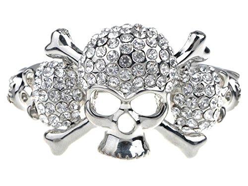 Alilang Silvery Tone Clear Crystal Rhinestone Skull Crossbone Cuff Bangle (Skull And Crossbone Costume Jewelry)