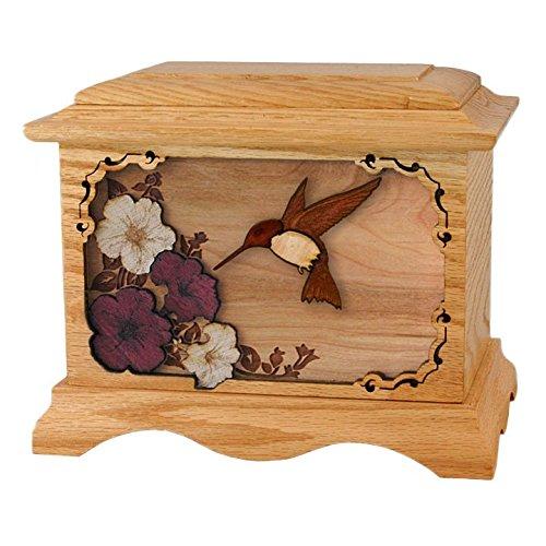 Wood Cremation Urn - Oak Hummingbird - Cremation Urn Wood Oak