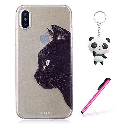 Coque iPhone X Chat noir Premium Gel TPU Souple Silicone Transparent Clair Bumper Protection Housse Arrière Étui Pour Apple iPhone X / iPhone 10 (2017) 5.8 Pouce Avec Deux cadeau