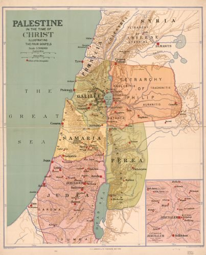 1916 Map Palestine in the time of Christ : illustrating the four Gospels. - Size: 20x24 - Ready to - Shops Map Forum