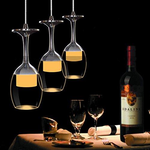 Zehui–Fixture araña de iluminación LED moderna minimalista creativa lámpara de techo de vidrio de vino, Blanco Warm