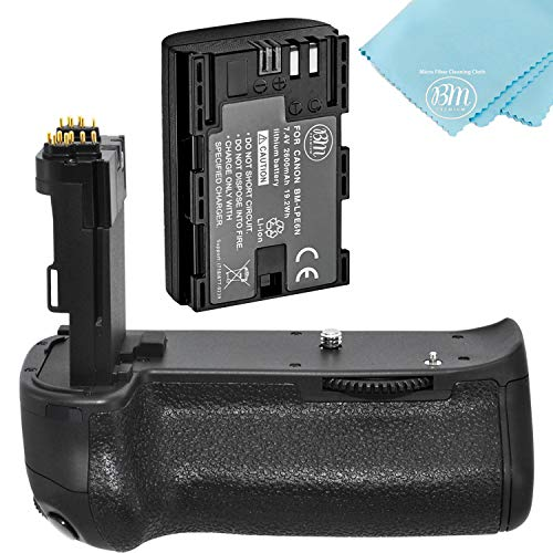 Battery Grip Kit for Canon EOS 70D, EOS 80D, EOS 90D Digital SLR Camera – Includes Qty 1 BM Premium LP-E6 Battery + BG-E14 Replacement Battery Grip