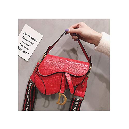 Crocodile Pattern Saddle Shoulder Bag for Women Embroidered Strap Fashion Small Top Handle Handbag Crossbody Handbag Purse-red Serpentine