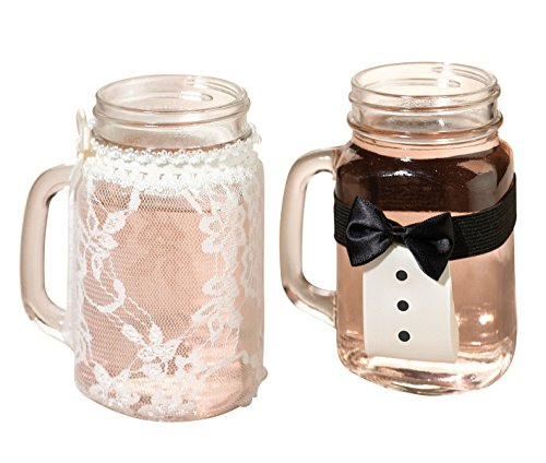 - Lillian Rose Bride and Groom Vintage Lace Tuxedo Glass Covers