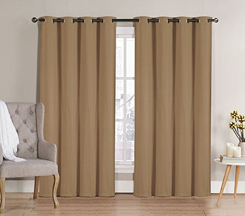 Neil Room Darkening 8 Grommet Energy Saving Panel, 2-Pack, Save On Heating and Cooling Costs, Reduces Noise, 100% Polyester, Total 104Wx90L Inches (Taupe)