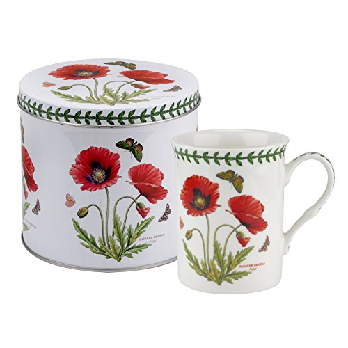 Portmeirion Coasters - Botanic Garden Poppy Motif Mug and Tin Set, Porcelain, Multi-Colour, 13 x 13 x 11.5 cm