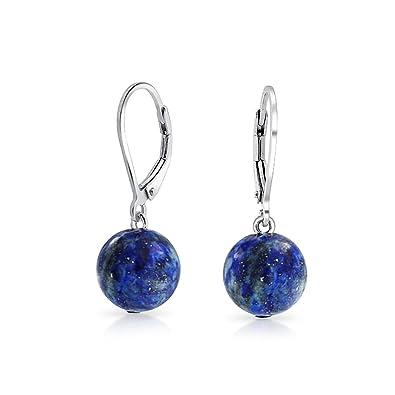 Bling Jewelry Teardrop Dyed Blue Lapis Lazuli Drop Sterling Silver Leverback Earrings FJyUWyjl