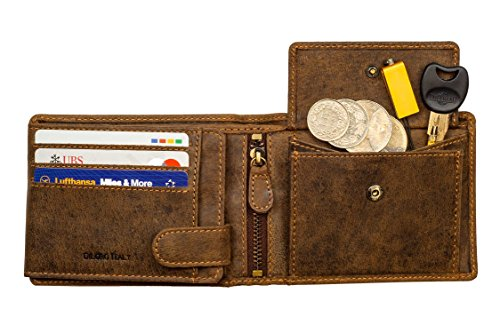 (Leather Wallets for Men RFID Bifold 2 ID Windows Coin Pocket Buffalo Brown Mens)
