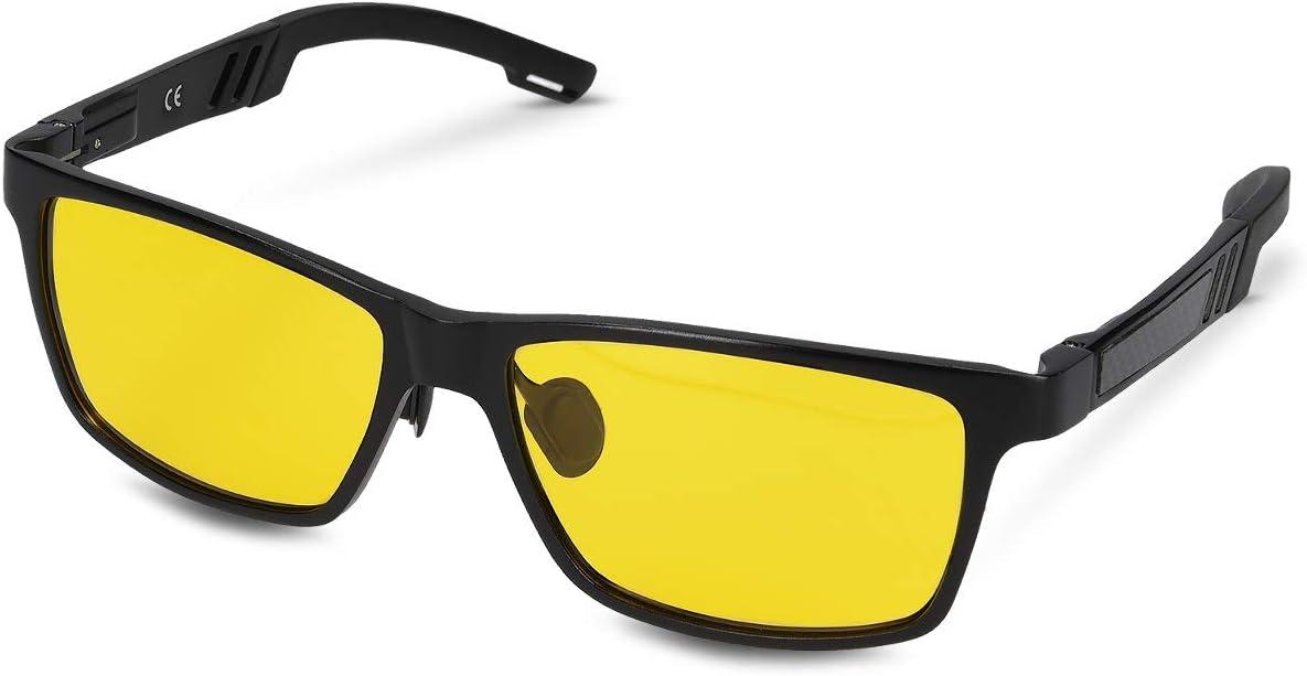 Navaris Gafas polarizadas de conducción Nocturna - Gafas de Sol antirreflejos con protección UV - Lentes polarizados Unisex Retro en Amarillo