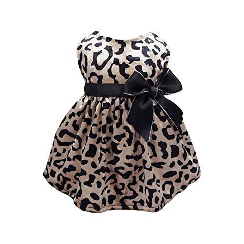 Fitwarm Leopard Print Pet Clothes for Dog Dresses Cat Apparel Costume Brown XS