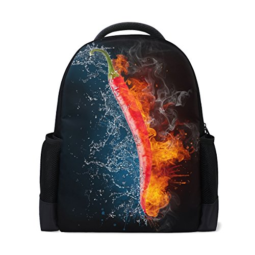 Ethel Ernest Cool Flaming Chili Pepper Custom Casual Backpack School Bag Travel Backpack