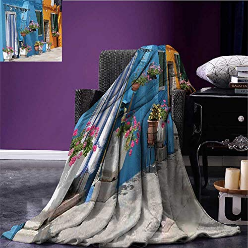 (RenteriaDecor Tuscan Printing Blanket Retro Tuscan House with Brick Road Flower Pots Outside Sovana Tuscany View Blanket for Sofa Couch Bed Marigold Pale Blue Bed or Couch 80