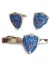 Legend of Zelda Hylian Triforce Mini Shield TIE BAR Clip Cufflinks Set