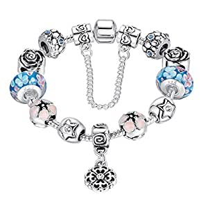 Pandora Style Fashion Charm Bracelet for Teen Girls and Women with Safe Chain Flower Themed Charms, Silver Plated