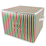 DII Holiday Ornament Storage Bin with Dividers & Separators to Protect Fragile Christmas Tree Decorations (Holds 75 Ball Decorations) - Holiday Stripe, Large