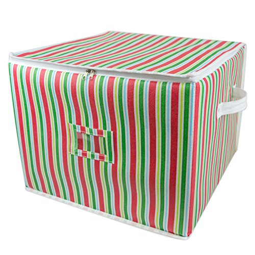 Large Ball Ornament (DII Holiday Ornament Storage Bin with Dividers & Separators to Protect Fragile Christmas Tree Decorations (Holds 75 Ball Decorations) - Holiday Stripe, Large)