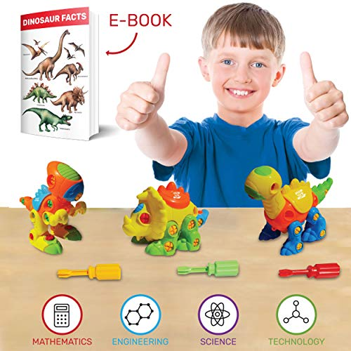 Dinosaur Toys Stem Kit (106 PCS) - STEM Learning Dino Take Apart Toys | Learning, Construction & Engineering Building Play Set for Kids, Boys & Girls 3 4 5 6 7 Year Olds - Best Dinosaur Gift to Build