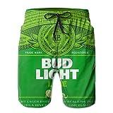 Bud Light Mens Swim Trunks Summer Quick Dry Board Shorts Elastic Waist Swimwear Bathing Suit with Mesh Lining/Side Pockets White