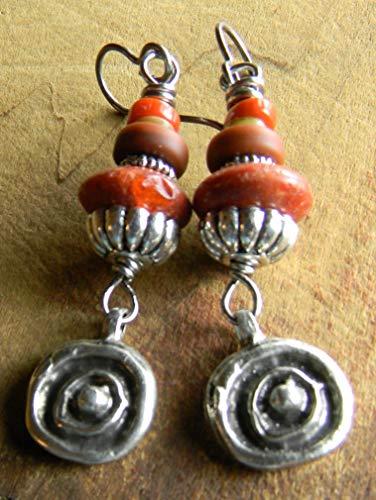 Tribal Pewter Rings - Red Coral Tribal Pewter Earrings