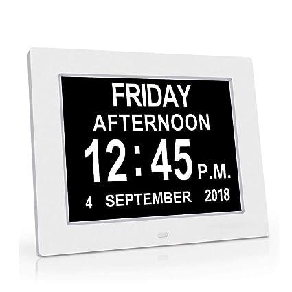 HLMF Alarmas Reloj Día del día, 12 Opciones Pantalla Regulable automática - Reloj