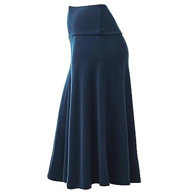 Lenfesh Femme Jupe Patineuse Taille Haute Vintage Mi Longue Chic RéTro Midi  Jupe Plissé (Asia 043b3869dbeb