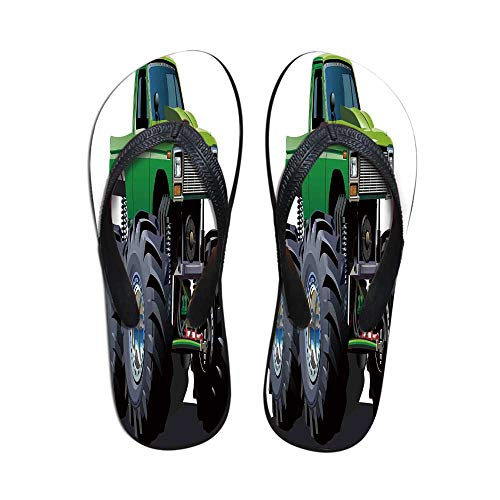 Havana Suspension - Cars Stylish Flip Flops,Giant Monster Pickup Truck with Large Tires and Suspension Extreme Biggest Wheel Print for Women & Girls,US Size 9