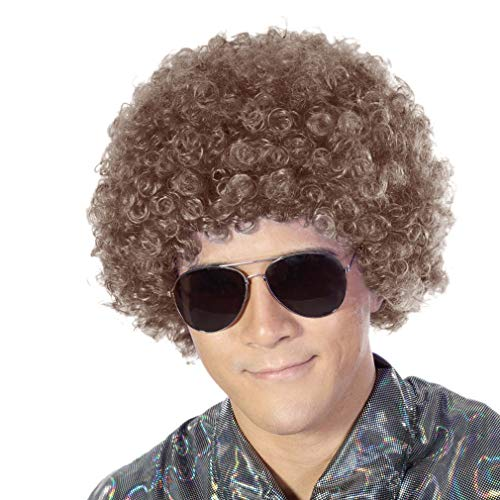 Fluffy Afro Synthetic Clown Wig for Men Women Cosplay Anime Party Christmas Halloween Fancy Funny Wigs (Brown)]()