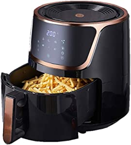PJPPJH Air Fryer with Rapid Air Circulation System Frying Technology, Timer and Adjustable Temperature Control for Healthy Oil Free or Low Fat Cooking, 1700W 6L