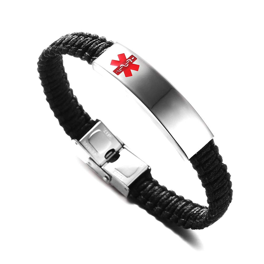 Type 1 Diabetes Medical Alert ID Silicone Bangle Bracelet for Kids 7.5 inches Pack of 5