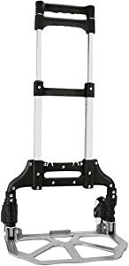 "Heavy Duty Hand Truck & Dolly - 150 lb. Capacity Aluminum Utility Cart with Adjustable Shaft, Folds Down to Just 2"" by Knack – Moving Equipment, Great for Lifting Boxes & Luggage (Black)"