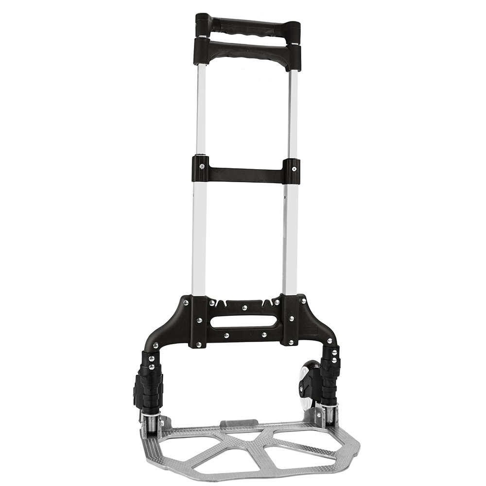 Heavy Duty Hand Truck Dolly 150 lb. Capacity Aluminum Utility Cart with Adjustable Shaft Folds Down to Just 2 by Knack – Moving Equipment Great for Lifting Boxes Luggage Black