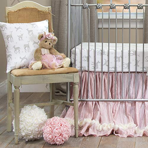 Glenna Jean Forest Friends Crib Bedding Nursery Set, White/Cream/Pink/Ivory, Standard