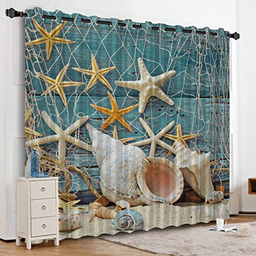 Anzona Nautical Sea World Conch Starfish Shell Kitchen Curtains Window Drapes Thermal Insulated, Blackout Curtains for Kitchen/Cafe/Office/Bedroom Window Treatment, 52''W x 90''L