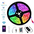 Led Strip Lights, WiFi Smart Controlled Color Changing Tape Lights, 16.4ft RGB SMD 5050 IR Remote Flexible Rope Lights, Sync to Music Mood Lighting Light Strips