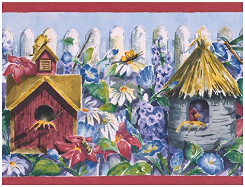 Wall Border - Birdhouses Red Purple Flowers White Picket Fence Kids Wallpaper Border Retro Design, Prepasted Roll 15 ft. x 10.5 in. ()