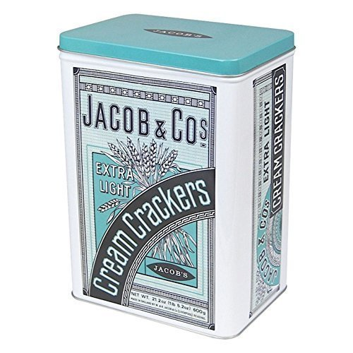 Jacob & Cos Extra Light Cream Crackers Hinged Storage Tin by Half Moon Bay by Half Moon Bay