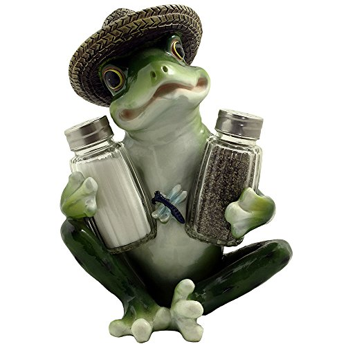 Decorative Country Frog & Dragonfly Glass Salt and Pepper Shaker Set with Display Stand Figurine Sculpture for Country Kitchen Table Decor or Whimsical Dining Room Decorations & Collectibles As Unique -