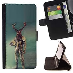 Momo Phone Case / Flip Funda de Cuero Case Cover - Astronauta ciervos;;;;;;;; - HTC Desire 626