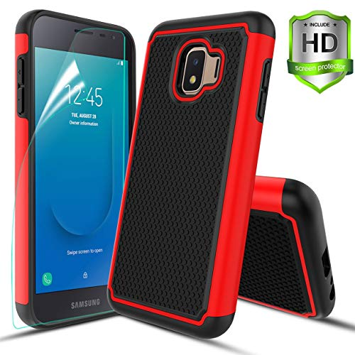 Compatible with Samsung Galaxy J2 Case/J2 Shine/J2 Core/J2 Dash/J2 Pure/J260 Case,w HD Screen Protector Dual Layers Protective Hard PC Football Lines Design Back Soft TPU Rubber Shockproof Case.Red