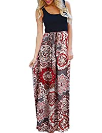Women's Sexy Ethnic Style Sleeveless Floral Print Bohemian Tank Dresses Geometric Party Evening Long Maxi Dresses