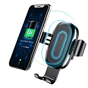 Qi Wireless Car Charger Mount, Baseus Gravity Car Mount Air Vent Phone Holder, Fast Charge for Samsung Galaxy S8 S7/S7 Edge, Note 8 5, Standard Charge for iPhone X, 8/8 Plus and Qi Enabled Devices