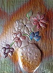 Original copper embossed and hammered framed 6X8 Vase of Flowers