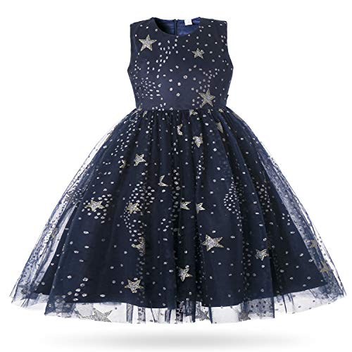 CIELARKO Girls Princess Pageant Dress Kids Prom Ball Gowns Wedding Party Long Dresses (Navy, 4-5 Years) -
