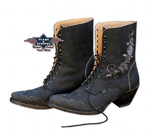 """Stars & Stripes Westernstiefel Boot Ladies Schnürstiefel """"Rosi"""" schwarz halbhoher Schaft 36 bis 41"""