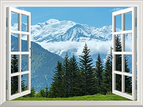 wall26 Removable Wall Sticker/Wall Mural - Snow Mountain and Pine Trees out of the Open Window Creative Wall Decor- ()